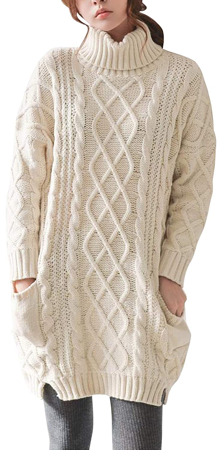 bd76ca8ced0 Liny Xin Women's Cashmere Knitted Turtleneck Long Sleeve Winter Wool  Pullover Long Sweater Dresses Tops
