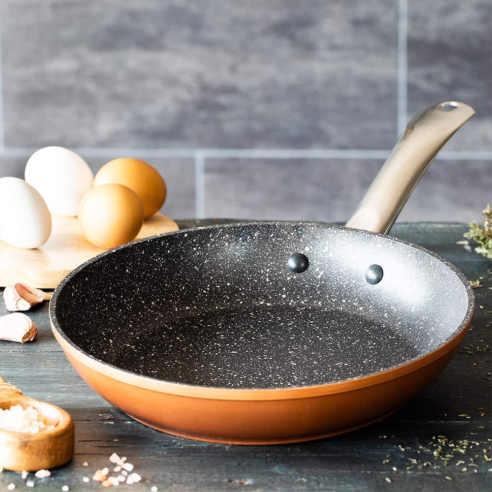 Monix Copper - Sartén 20 cm de aluminio forjado con antiadherente con partículas de titanio, aptas para todo tipo de cocinas, incluso inducción, color ...