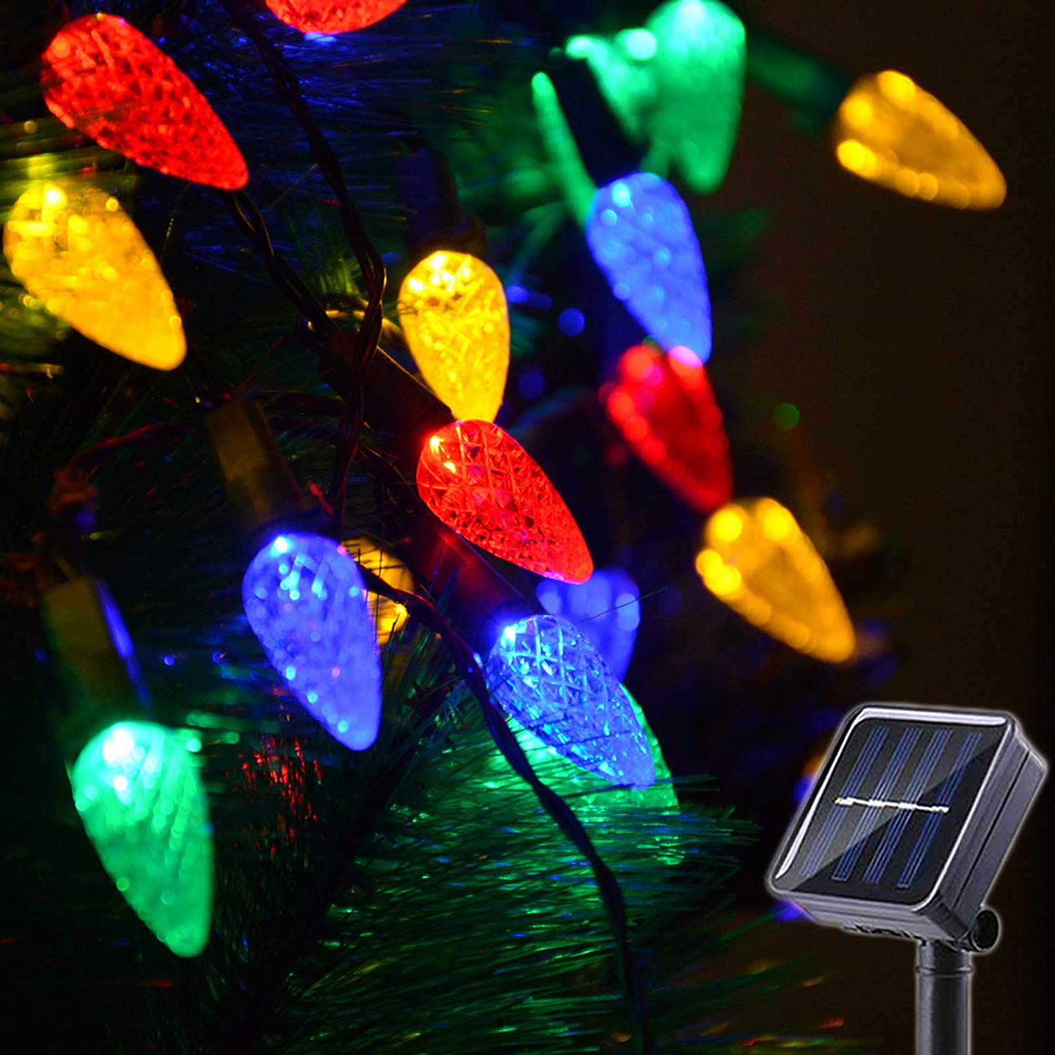 Solar Christmas Lights Outdoor C6 Strawberry String Lights, LED Christmas Fairy Lights 50 LEDs Solar Operated Rechargeable Garden Lights for Christmas Tree, Holiday, Arbor Decor (Multicolor, 8 Modes)