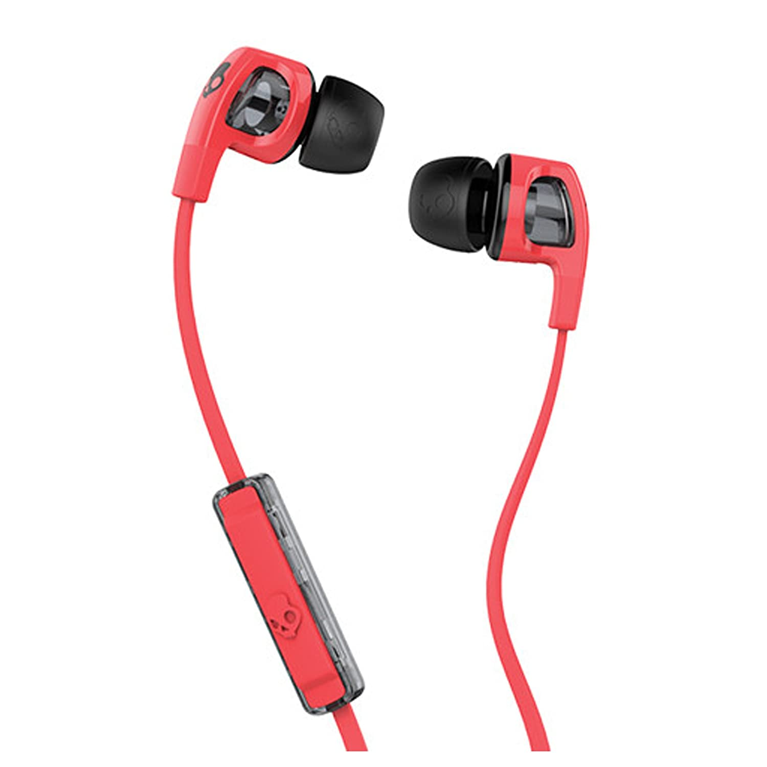 Skullcandy Smokin' Buds 2 Noise Isolating Earbuds with In-Line Microphone and Remote, Moisture Resistant, Oval-Shaped and Angled for Long-Term Comfort, Black/Red - S2PGFY-010
