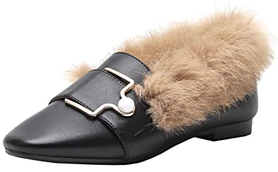 18f64319b59 Vitalo Womens Slip On Flats Loafers Slides Backless Fur Mules Slippers with  Furry Size 4 B