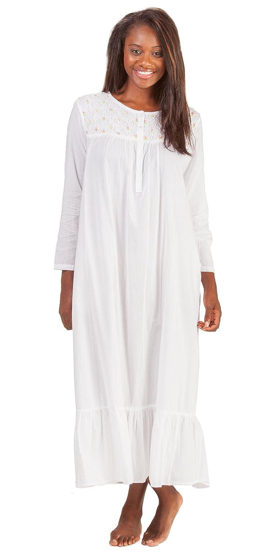 fea4956d90 La Cera Boutique Plus Long White Cotton Nightgown in Rosebud Trellis (2X  (22-24)