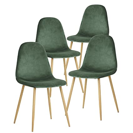 Amazon.com GreenForest Dining Chairs for KitchenElegant Velvet Back and Cushion Mid Century Modern Side Chairs Set of 4Cactus Kitchen u0026 Dining  sc 1 st  Amazon.com & Amazon.com: GreenForest Dining Chairs for KitchenElegant Velvet ...
