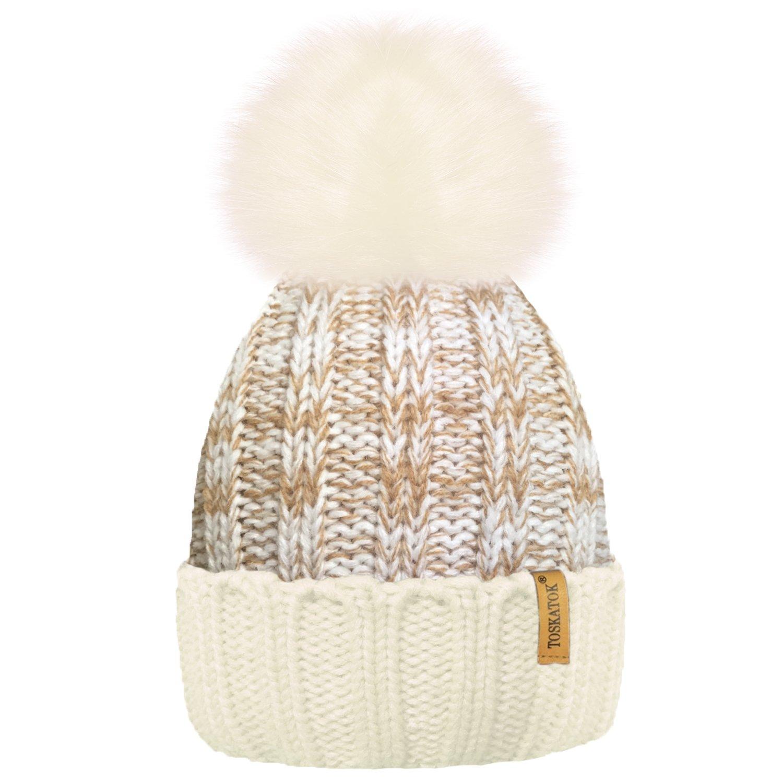 TOSKATOKWomens Winter Rib Knitted Hat/Beanie with Detachable Chunky Faux Fur Bobble Pom Pom