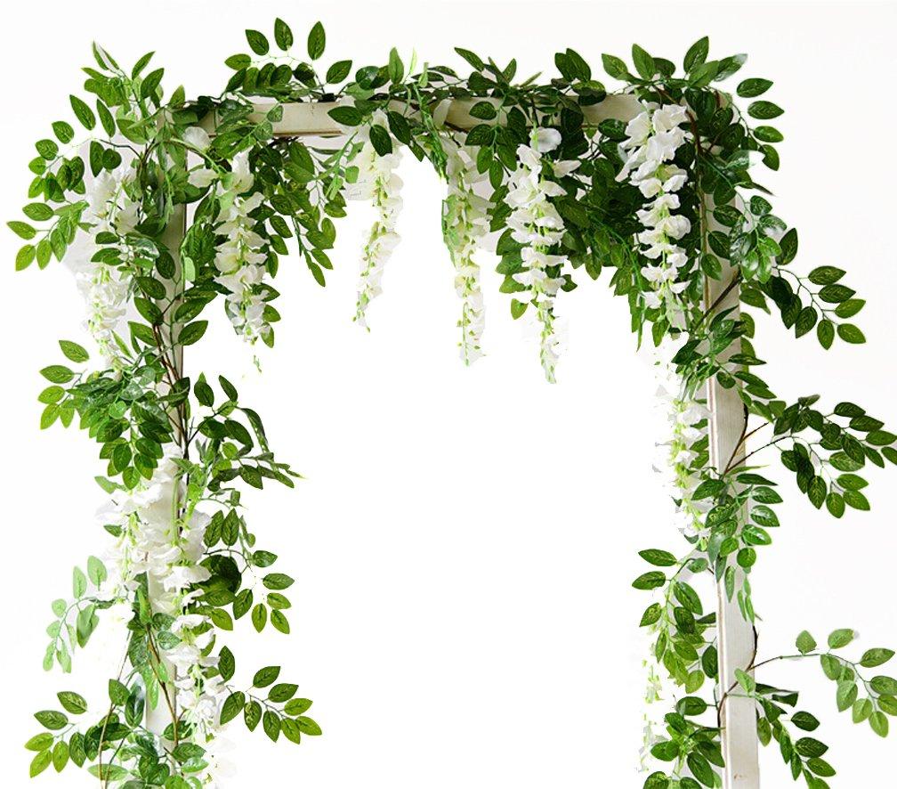 silk flower arrangements 6.6ft artificial flowers silk wisteria flowers ivy vine green leaf hanging vine garland for wedding party home garden wall decoration pack of 2, cream