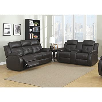 Beau AC Pacific Troy Brown Bonded Leather 2 Piece Power Sofa And Loveseat Living  Room Set