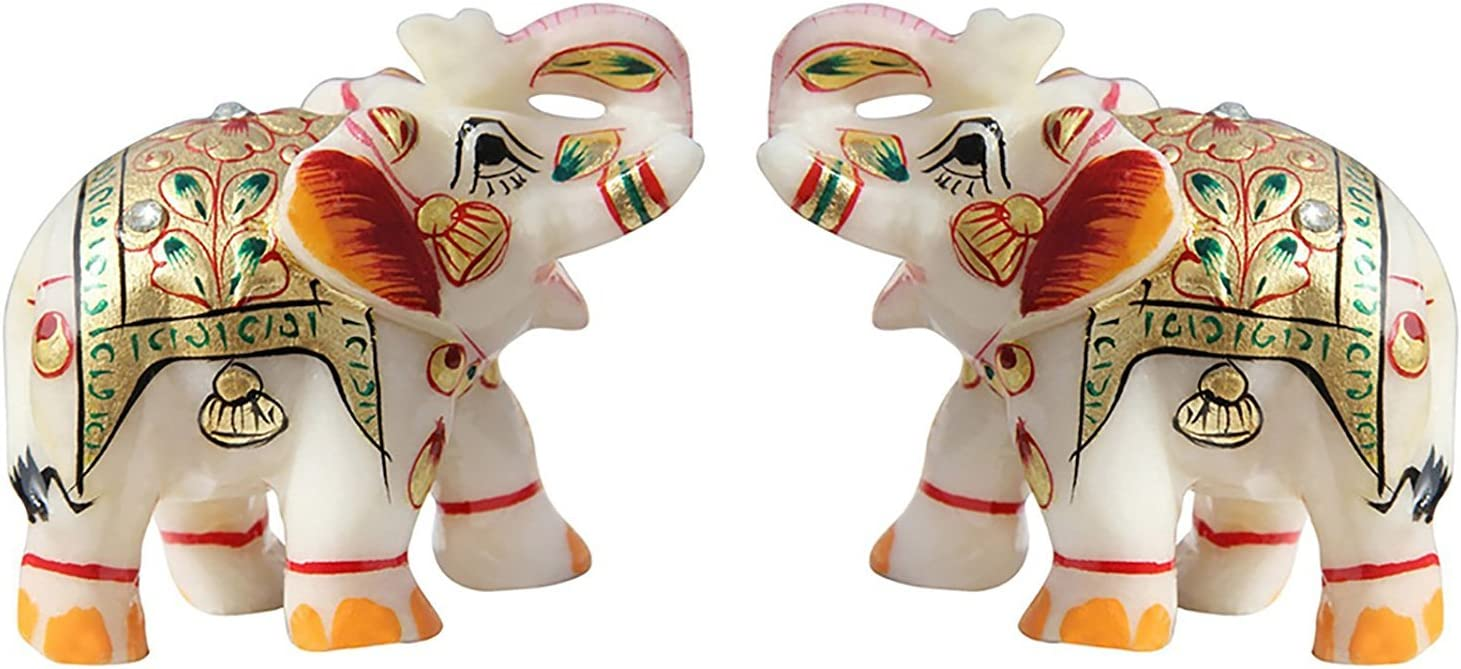 "Fashion Bizz Indian Handicraft Home Decor Marble Meena Elephant Pair 2"""