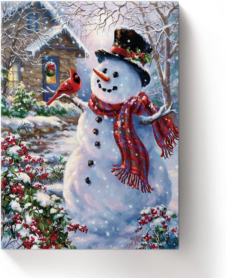 ALAGO Wall Arts-Winter Holiday Merry Christmas Happy Snowman and Cardinals Giclee Canvas Prints Gallery Wrapped Modern Artworks Xmas Pictures Paintings for Home Decor Framed