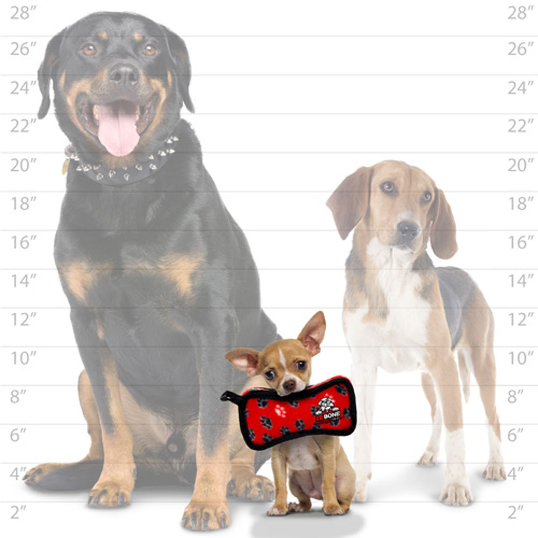 Red Tuffy Junior Bowmerang Paws Print Dog Toy