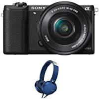 Sony Alpha ILCE-5100L 24.3MP Digital SLR Camera (Black) with 16-50mm Lens, with Camera case, Memory Card and Sony MDR-XB550AP Headphones.