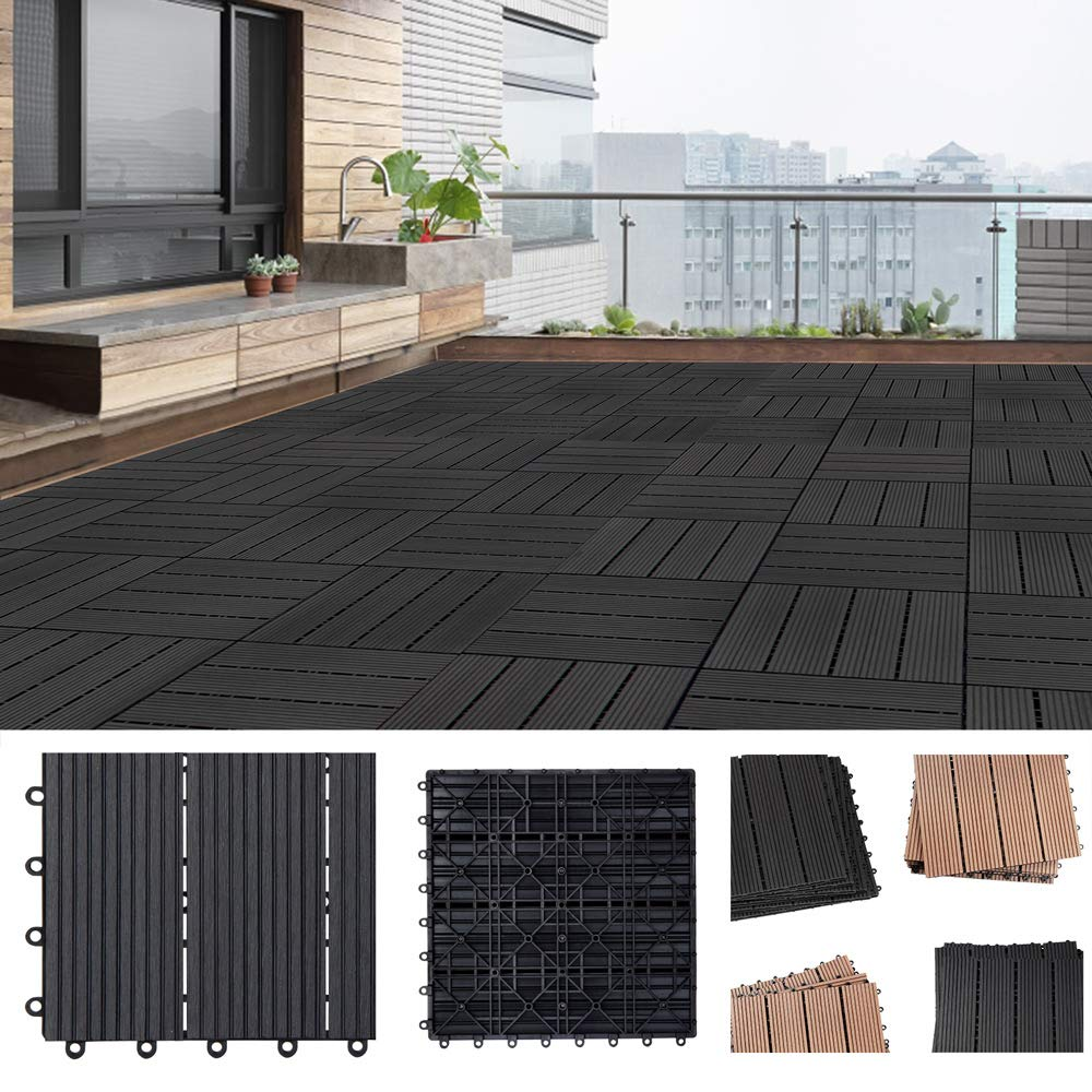 Einzelfliese 30x30 cm Stecksystem Mosaik Deuba WPC Fliesen Klassik Terrakotta Zuschneidbar Terrasse Balkon Garten