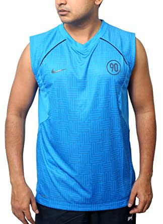 huge selection of d4398 f76f1 Nike Men s Football Dri-Fit Sleeveless Total 90 Training Vest L Blue   Amazon.co.uk  Clothing