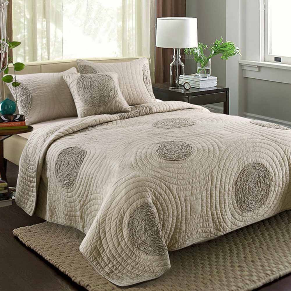 Quilt Sets King Size 100% Cotton Solid 3D Floral Pattern Quilted Coverlet with Shams by MicBridal, Modern Bedspread Beige
