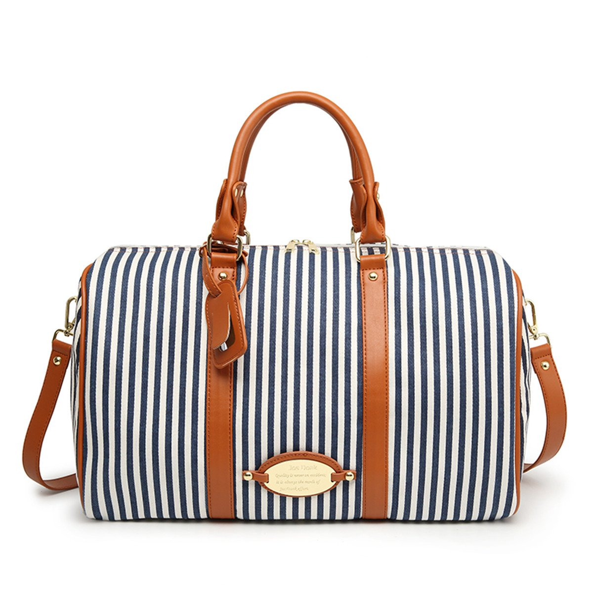 MooYang Women Fashionable Weekender Travel Duffle Tote Bag. Canvas Striped Bag for Overnight Trip,Work,College,Gym,Vacations. by MooYang (Image #1)