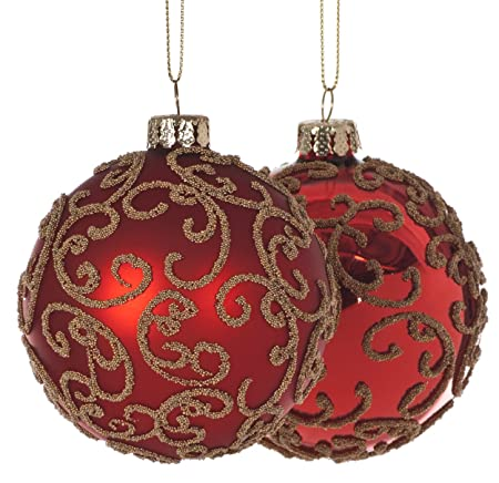 set of 2 glass red gold filigree glass christmas tree decorations