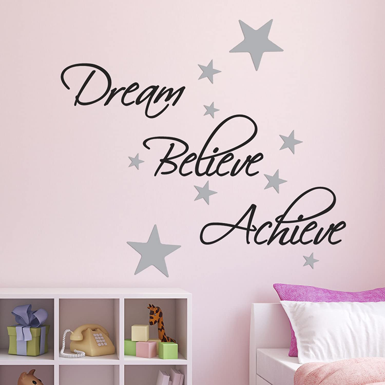 Dream, Believe, Achieve Wall Sticker Pack   Includes 60 Silver Star Wall  Decals: Amazon.co.uk: Kitchen U0026 Home Part 69