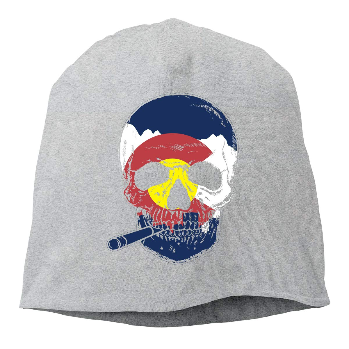 Colorado Flag Skull Smoking Unisex Knitted Hat Beanie Hat Warm Hats Skull Cap