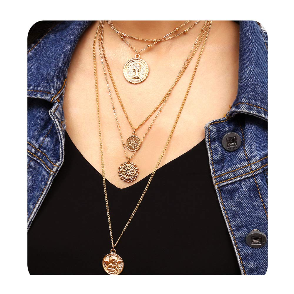 ac567017c58 Amazon.com: Aegenacess Set of 5 Layer Layering Y Necklace Pendant Holiday  Boho Queen Necklaces Long Multilayer Chain Fashion Jewelry Women Girls Gift  for ...