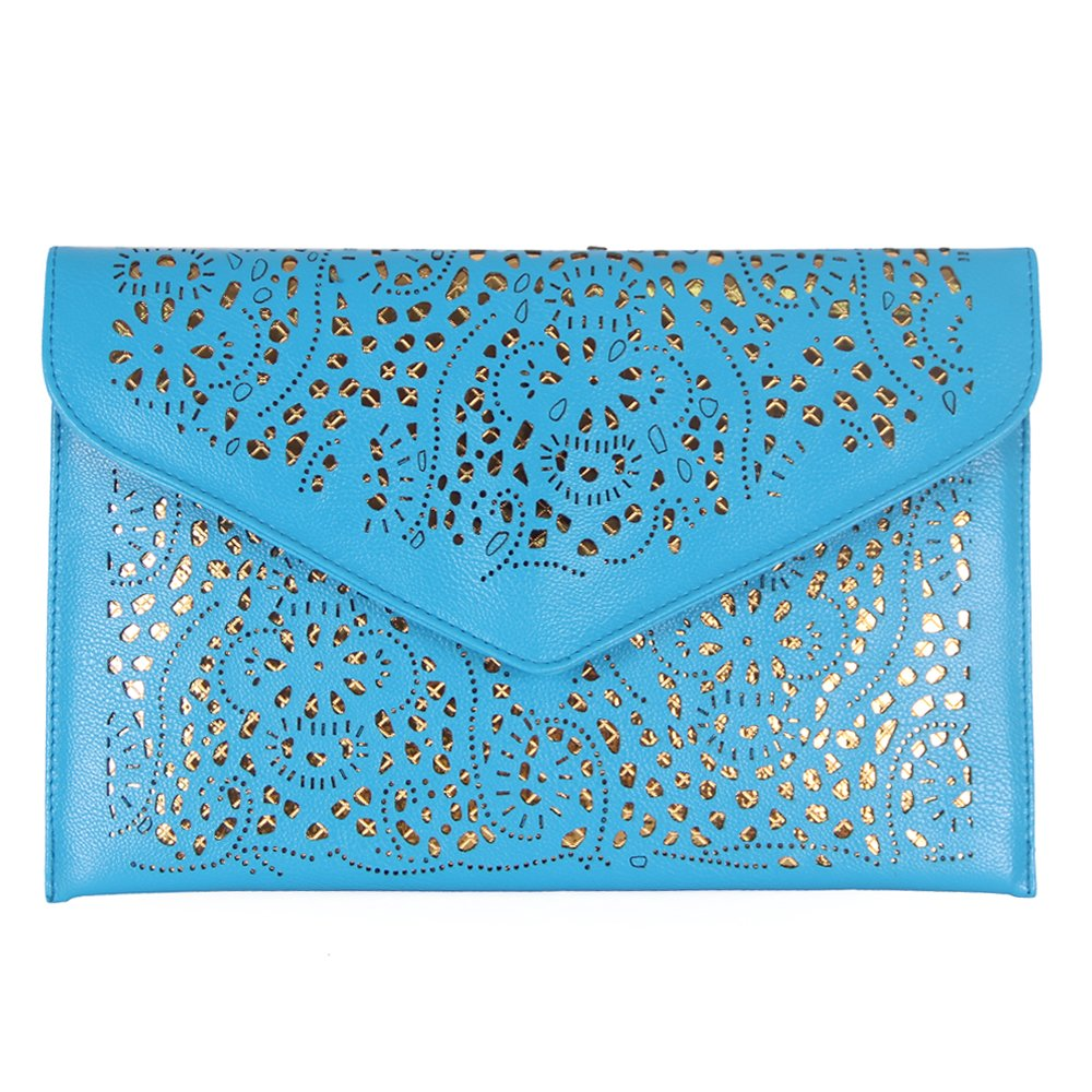 YOUR GALLERY Womens Faux Leather Neon Hollow Flowers Envelope Summer Clutch Purse,Blue