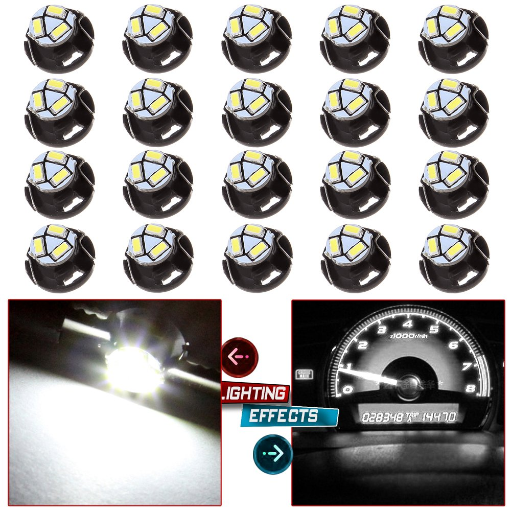 cciyu 20 Pack White T5/T4.7 Neo Wedge 12mm 3 SMD LED A/C Climate Control Light Bulbs 12V Replacement fit for 2006-2009 Mitsubishi Raider etc. by cciyu