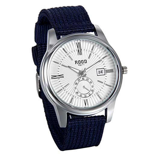 JewelryWe Reloj de Hombre Caballero Retro Vintage Reloj Correa de Nylon Casual Deportivo Azul, Con Calendario Elegante Reloj Cuarzo para Hombre, ...