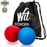 WonderFit Massage Lacrosse Balls for Myofascial Release, Trigger Point Therapy, Muscle Knots and Yoga Therapy + Easy-to-Carry Canvas Bag + FREE Ebook with 10 Amazing Exercises - Set of 2 Firm Balls