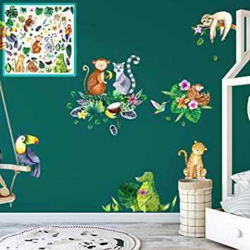 Xxl Wandtattoo Dschungel Jungle Tropisch Set Verschiedene Motive Kinderzimmer Aufkleber Bunt Wanddeko Amazon De Baumarkt