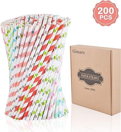 Gimars 200PCS Pajitas papel desechables de 8 colores para la ...