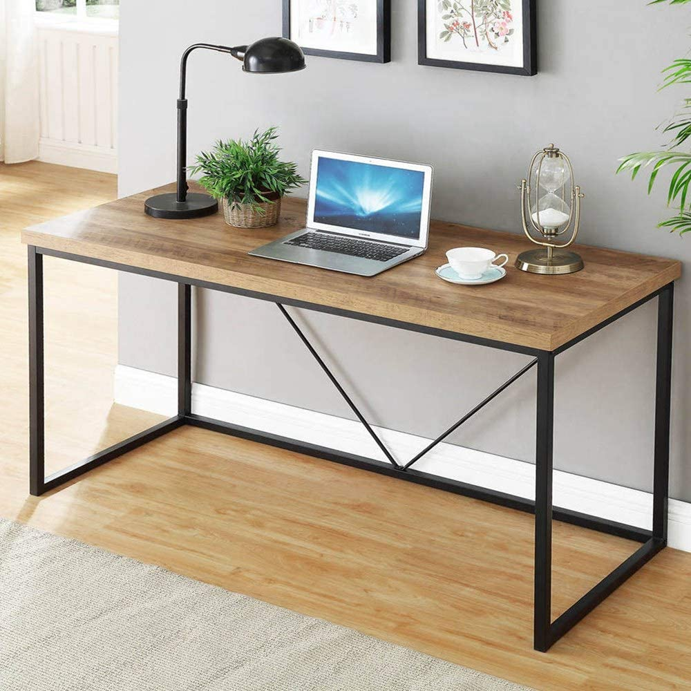 FOLUBAN Rustic Industrial Computer Desk,Wood and Metal Writing Desk, Vintage PC Table for Home Office, Oak 60 inch