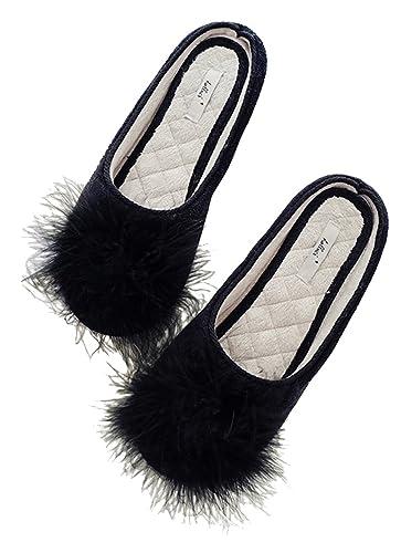 65f51936652 FreLO Women s Black Plush Pom-pom Fuzzy Slippers Casual Fluffy Slippers ...