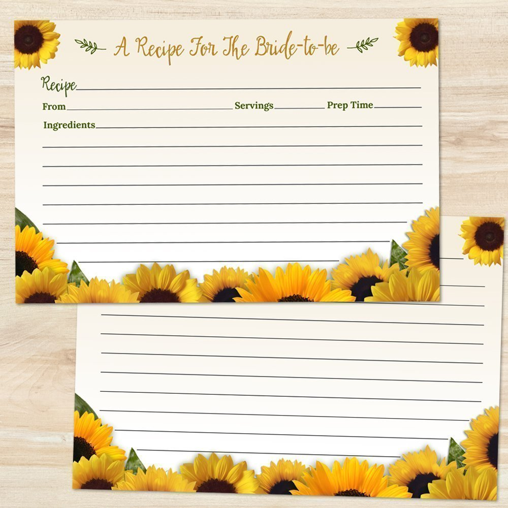 Rustic Sunflowers Bridal Wedding Shower Printed 6x4 Inch Two-Sided Recipe Cards, Set of 20
