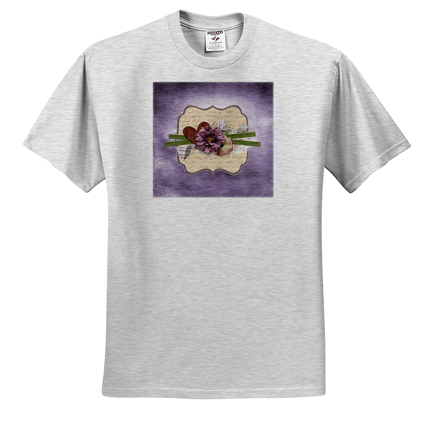 Purple and Yellow Flowers on Tag Ribbon T-Shirts Image of Wooden Heart 3dRose Beverly Turner Flora Design