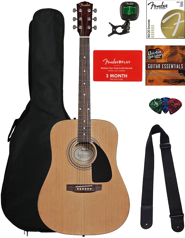 Fender FA-115 Dreadnought Acoustic Guitar - Natural Bundle with Fender Play Online Lessons, Gig Bag, Tuner, Strings, Strap, Picks, and Austin Bazaar Instructional DVD by Fender