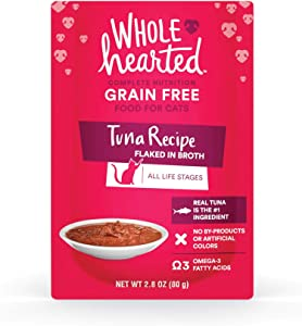 WholeHearted Grain Free Tuna Recipe Flaked in Broth Wet Cat Food, 2.8 oz., Case of 12, 12 X 2.8 OZ