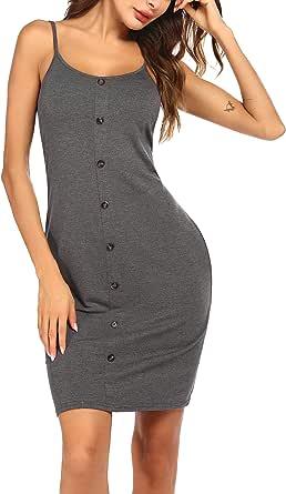 Ekouaer Women's Nightgown Fashion Contrast Nightshirt with Pocket Sleepwear Comfy Nightdress