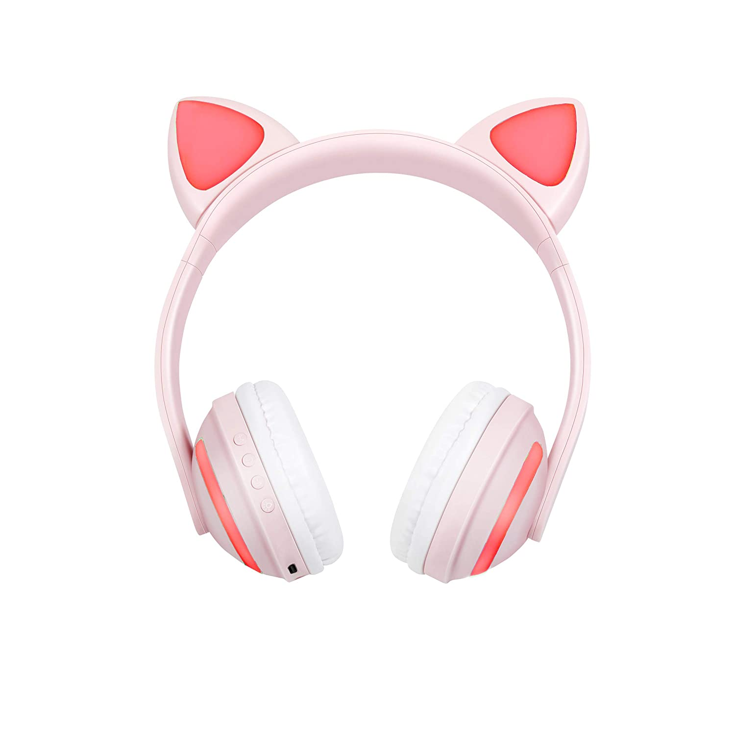 Treesine Wireless Bluetooth LED Cat Ear Headphones for Girls, Kids, 7-Color Color Changing Glowing Over Cosplay Cat Ears Gaming Headsets with Microphone for Smartphones PC Tablet (Pink)