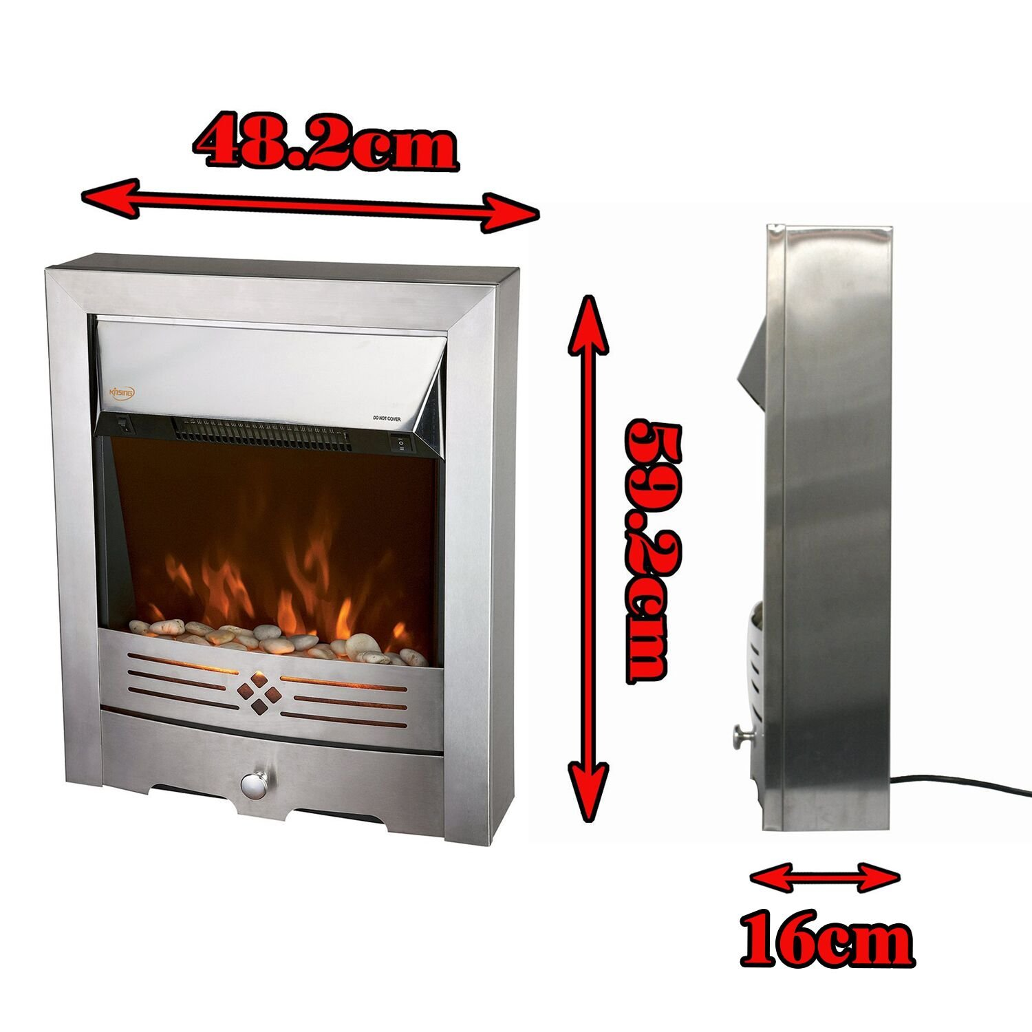 freestanding electric fireplace 2 kw 1 kw brushed stainless steel