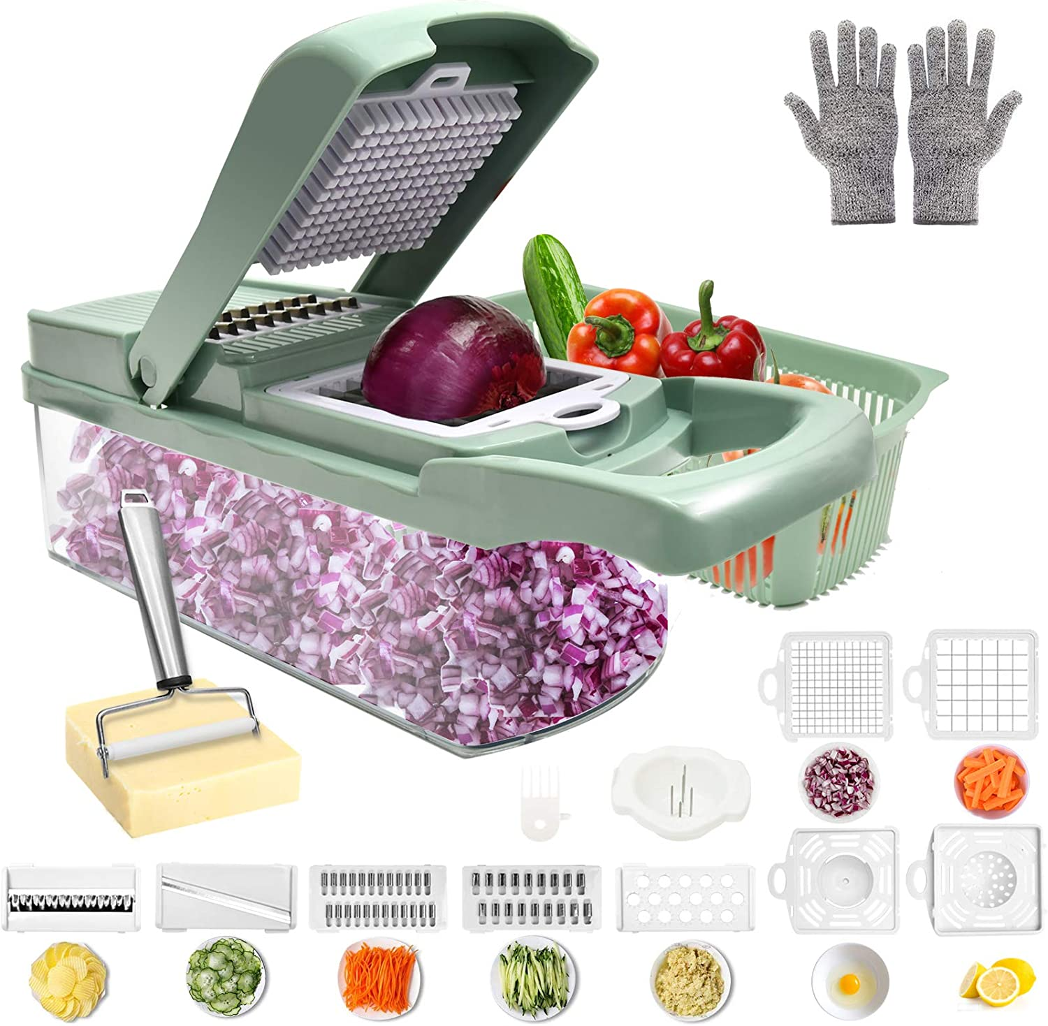 Onion Choppe Mandoline Slicer,French Fry Cutter with Cut-Resistant Gloves & Stainless Steel Cheese Slicer,12-in-1 Food Chopper Vegetable Spiralizer,Chopper Vegetable Cutter,Salad Chopper