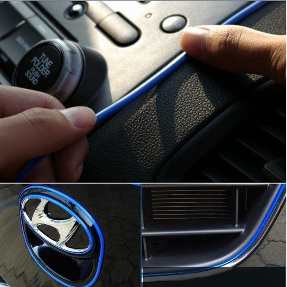 Dark Blue ATMOMO 5M Flexible Trim for DIY Automobile Car Interior Exterior Moulding Trim Decorative Line Strip