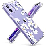 GVIEWIN Clear Floral Case Compatible with iPhone 12 and iPhone 12 Pro 6.1 Inch 2020, Soft & Flexible TPU Shockproof Cover Wom