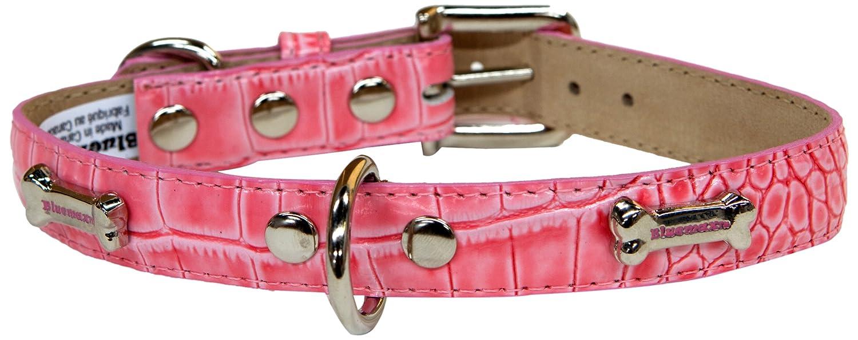 blueemax Genuine Leather Crocodile Cow Dog Collar with Bone S