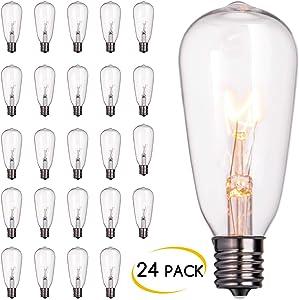 24-Pack Edison Replacement Light Bulbs,7-Watt E17 Screw Base ST40 Replacement Clear Glass Light Bulbs for Outdoor Patio ST40 String Lights, Warm White
