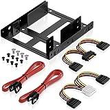 """deleyCON Einbaurahmen SET für 2x 2,5"""" Festplatten / SSD's auf 3,5"""" Adapter Wechselrahmen / Halterung inkl. Schrauben 2 SATA Kabel & 2 Stromadapter"""