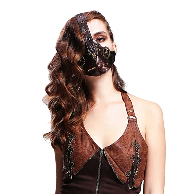Steampunk Jewelry – Necklace, Earrings, Cuffs, Hair Clips Steampunk Motorcycle Biker Ice Hockey Cycling Winter Face Mask Masquerade Masks $19.66 AT vintagedancer.com
