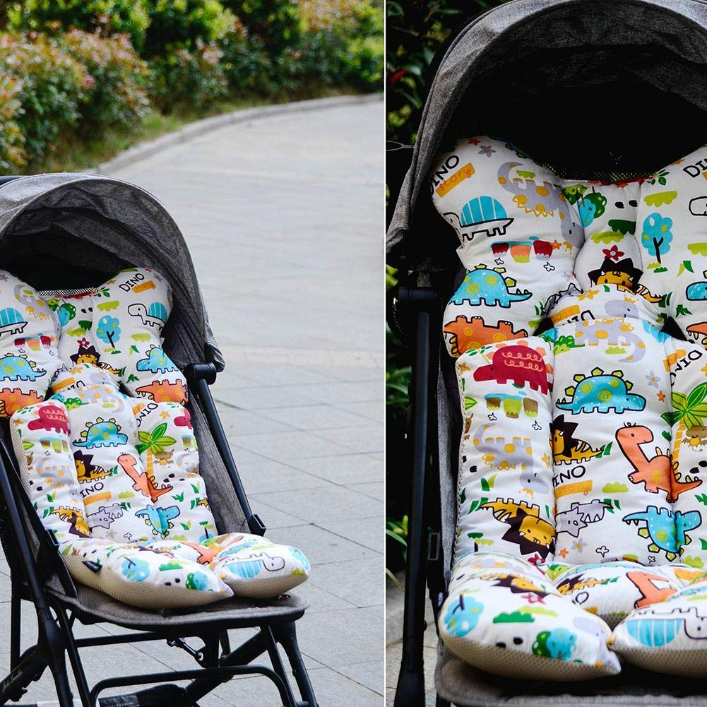 winnerruby Baby Stroller cushion High Chair Seat Cushion Umbrella Vehicle Stroller Cushion Dining Chair Pram Pushchair Thick Cotton Pad Cartoon dinosa pattern