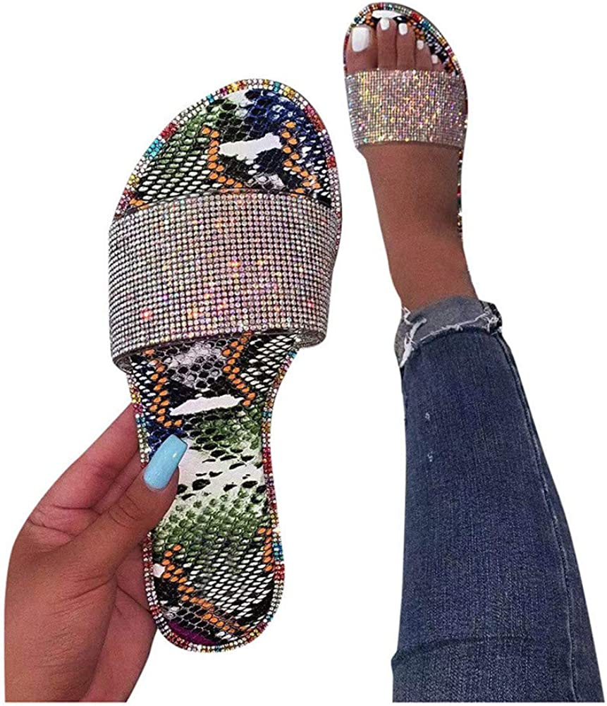 Ladies Women Crystal Toe Ring Sliders Fashion Casual Flat Sandals SIZES 3-8