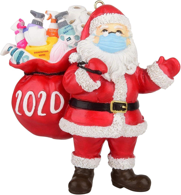 Santa Wearing Mask and Carrying a Gift Bag