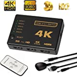 Dailychoices Intelligent 5-Port HDMI Switch, Supports 4K, Full HD1080p, 3D with IR Remote (5 Ports 4K2K HDTV Splitter Hub)