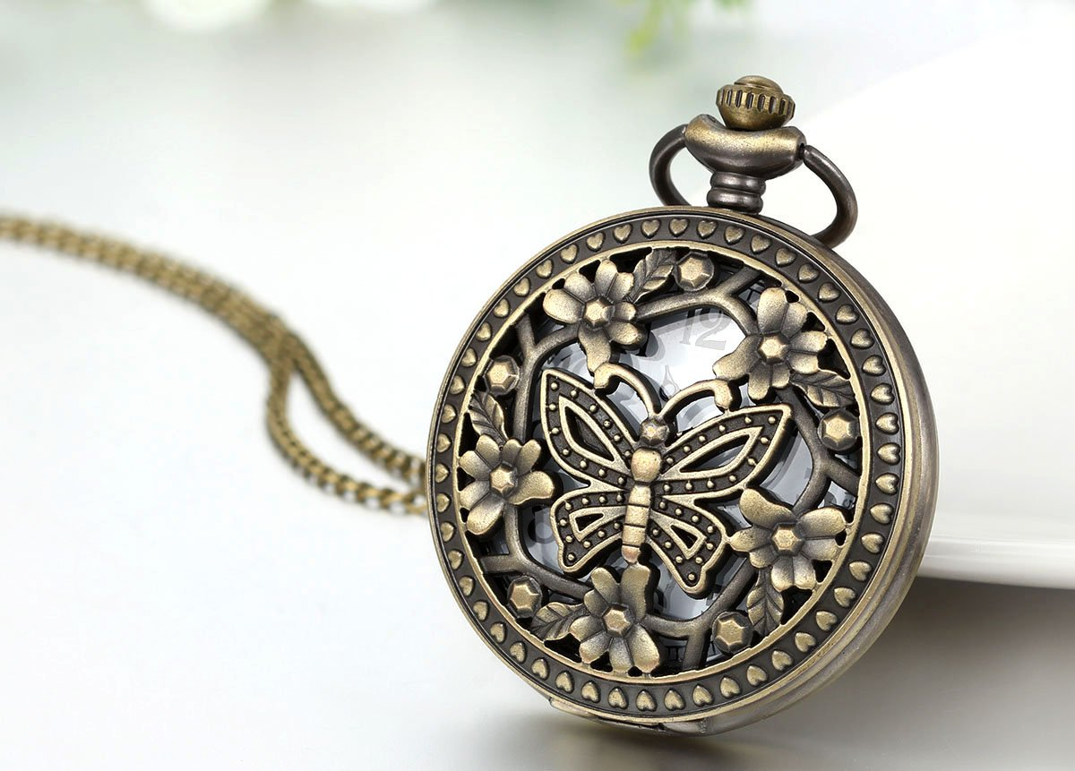 JewelryWe Retro Design Bronze Butterfly Flower Openwork Cover Pocket Quartz Watch with 31.5 Inch Chain by Jewelrywe (Image #2)