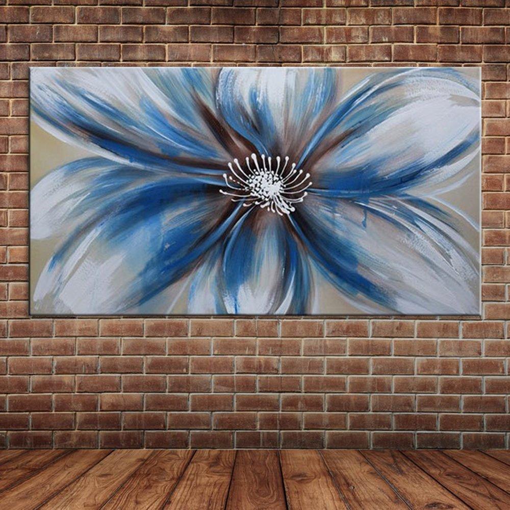 IPLST@ Modernes Leinwand-Kunst Einzelne blaue Blumen-Ölgemälde ...